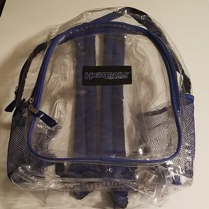 High trails clear and blue backpack